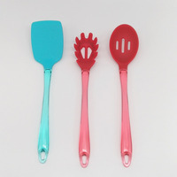 2019 Hot Selling New Silicone Kitchen Utensils Set With Transparent Colour PS Handle