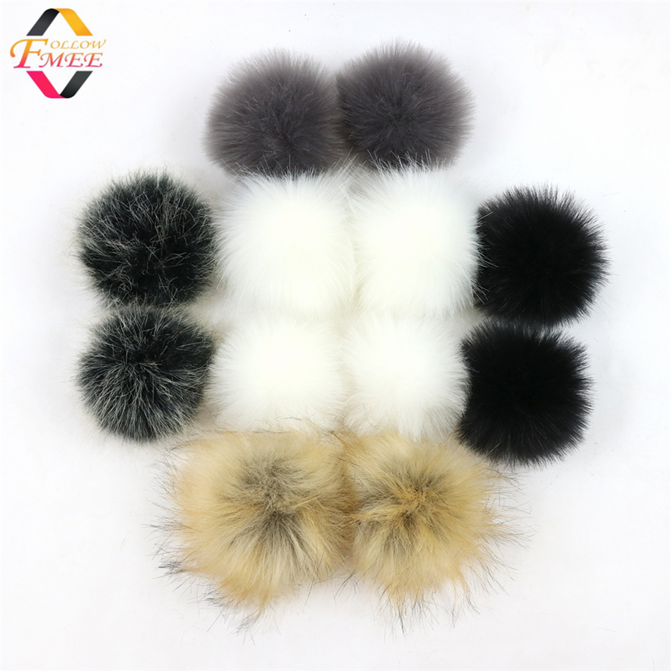 Wholesale Custom Fluffy faux raccoon <strong>fur</strong> pom pom 8cm faux <strong>fox</strong> <strong>fur</strong> <strong>ball</strong> with snap for hats and clothes