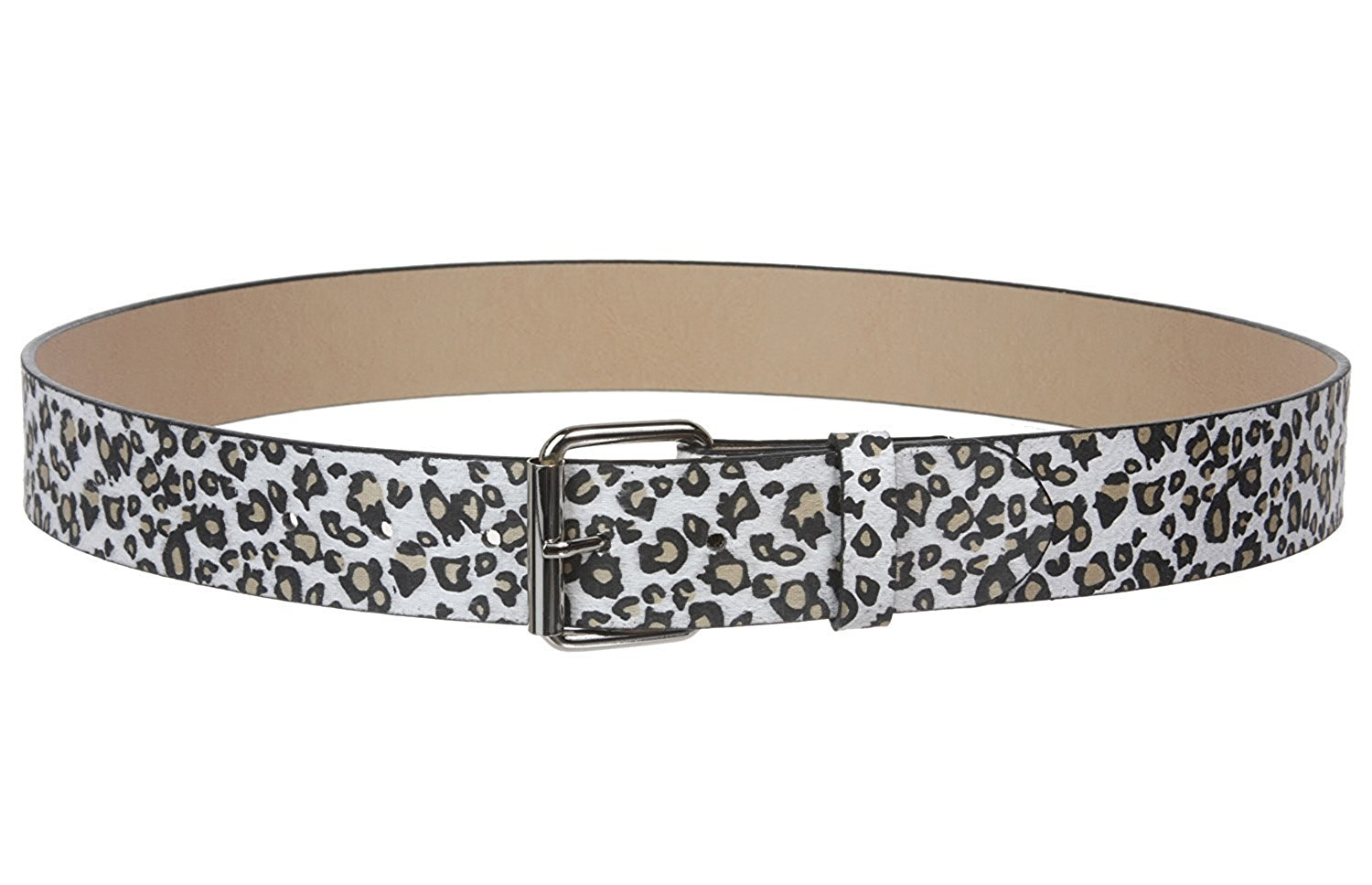MONIQUE Women Covered Buckle Genuine Leather Braided Woven Round 2 Wide Belt