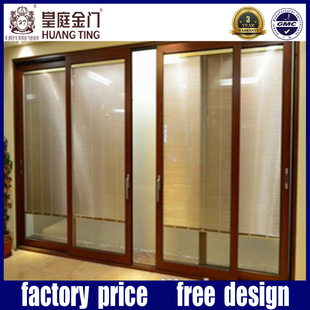 Double Glass Aluminium Electric Control Sliding Glass Door With Blinds