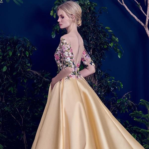 Evening Gowns For Wedding Reception: الثقيلة مطرز طويل مساء اللباس حفل زفاف فساتين 2017-ملابس