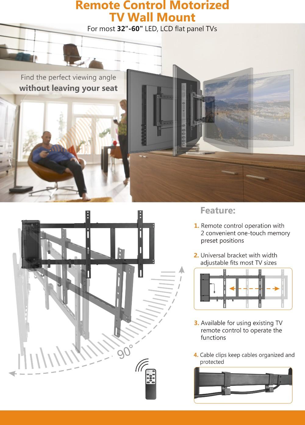 3 Mal Genehmigt Fernbedienung Motorisierte TV Wandhalterung