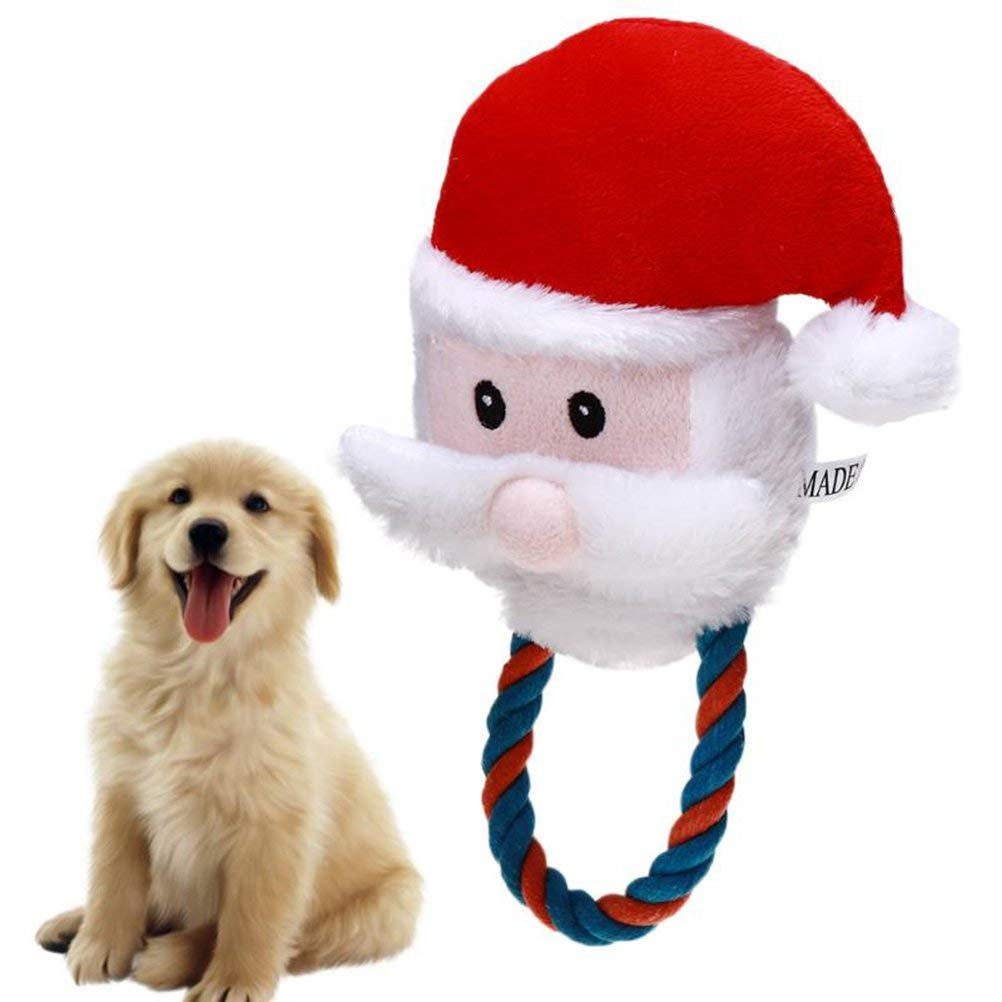 UEETEK Christmas Pet Plush Toys Dog Chew Toys Puppy Cats Cute Biting Sound Squeaky Toys Santa Claus Design