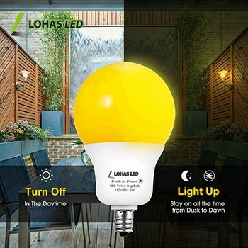 A19 6W E12 Dusk to Dawn Yellow Bug Light Sensor Auto On Off Bulb for Indoor Outdoor Using