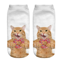Free Shipping Hot Sale 3D Socks Doughnut with Cat Pattern White Color Cozy Socks Thin Comfortable