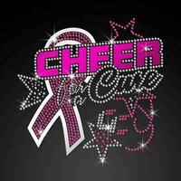 Wholesale custom rhinestone ISS Pink Ribbon Cheer Nailhead Transfer Iron on vinyl designs for clothing