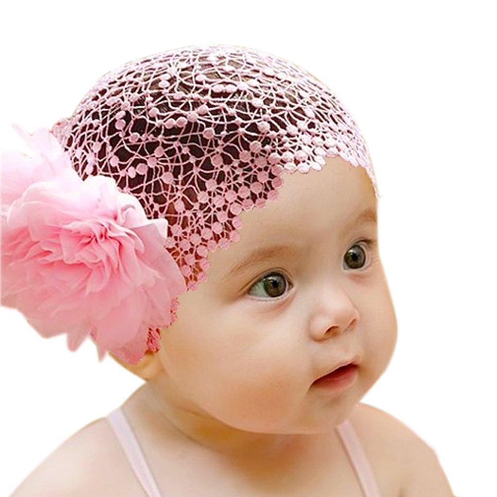 Beadthoven 1pc Cute Elastic Baby Girl Headbands, Elastic HeadWear, Cloth Flower Infant Baby Headbands, PearlPink, 120mm
