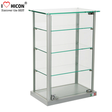 Keep Your Products Safe Lockable Counter Top Glass Toys Display 4-layer Jewelry Display Showcase Design