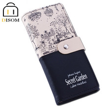 New Arrived 2015 female Long Leather Wallets Fashion 2 fold Floral Print Brand Design Casual Lady's Purse Women's Clutch