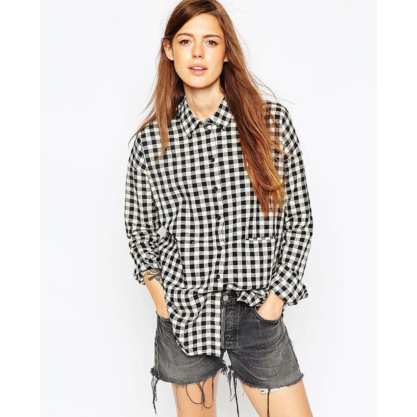 Get Quotations · White And Black Long Sleeve Plaid Shirts Women Tops  Boyfriend Shirt Loose Vintage Blouse 2015 ladies ea4e9aa821a8