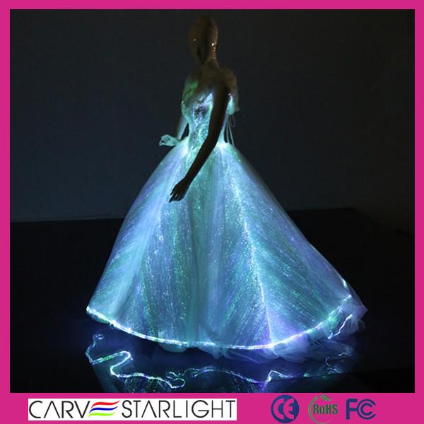 2017 Fiber Optic Clothing Short Front Long Back Lace Bridal Wedding ...