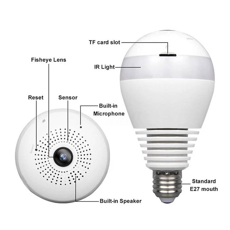 LED Light Bulb Camera 1080P 2.0M Home Security Spy Bulb Wifi CameraRemote Control by Phone 1.3M 960P E27 B22 Base