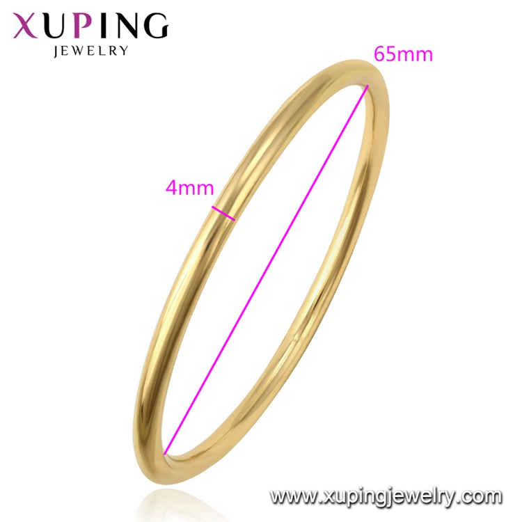 52338 xuping indian 14k gold-plated bracelet plain bangles, bangles india jewelry