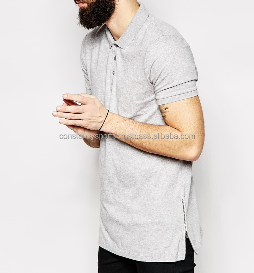 Grey Longline Polo Shirt / Grey Longline T Shirts With Zip / Over ...