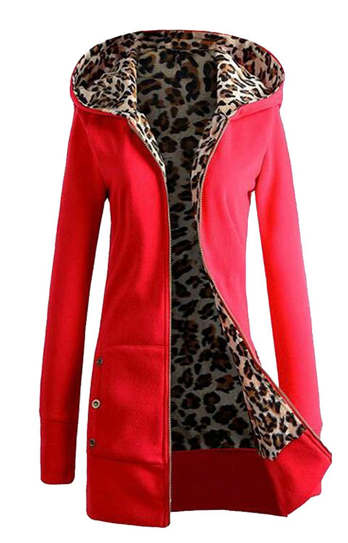 8d73c7a3c11 Get Quotations · WAWAYA Women Plus Size Leopard Print Winter Fleece Zip up  Hoodie Sweatshirt Coat Jacket