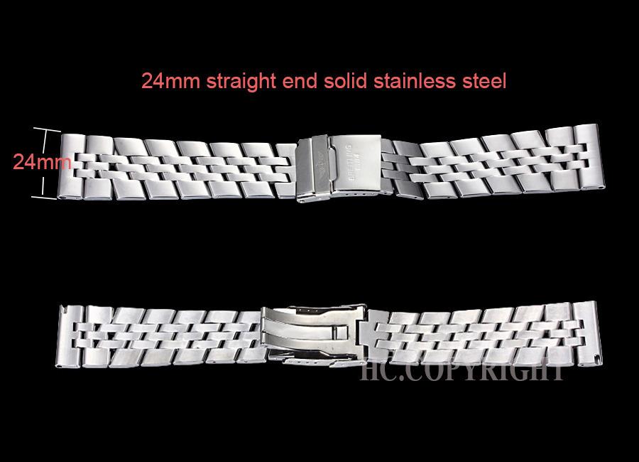 Серебро 24 мм браслет из нержавеющей стали часы полоса ремень ремешки для сплава стали умные часы