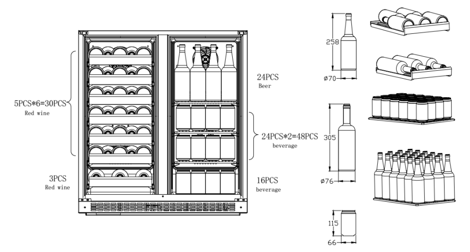 ball bearing wine and used beverage cooler refrigerator