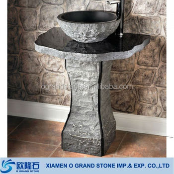 Modern Bathroom Outdoor Natural Stone Pedestal Sink