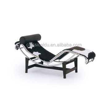 Le corbusier chaise lounge poltrona reclinabile in pelle nera