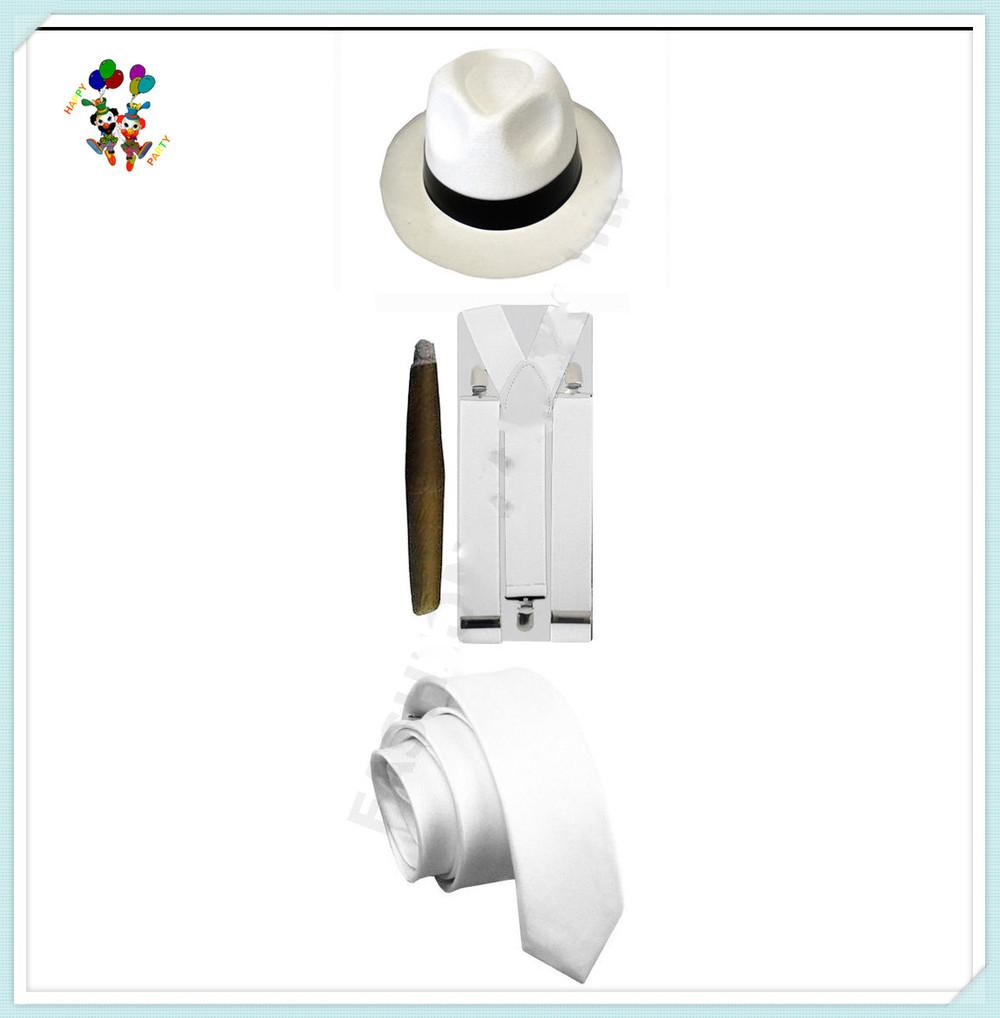 Partito 20s Pimp tema bianco nero mens cappelli gangster con cravatta  sigaro hpc-0241 bretella 74e27630edc3