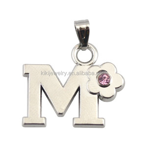 Free Shipping Lead Free Nickle Free Fashion Wholesale Mixed Order Silver Alphabet M Crystal Flower Pendant