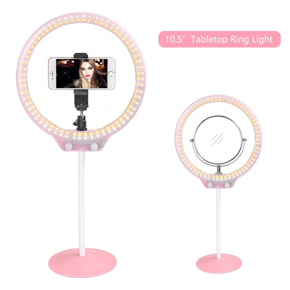 ZoMei 10.5 Inch Makeup Ring Light, Desktop Dimmable LED Lighting 5500K Output YouTube Video and Self-Portrait Video Shoot Ring Light Pink