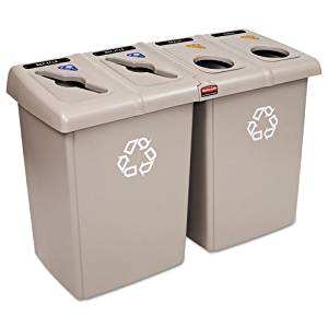 Rubbermaid Commercial Glutton Recycling Station, Rectangular, 4-Stream, 92 Gal, Beige - Includes recycling station with two Glutton« 56-Gallon containers, four Slim Jim« 23-Gallon containers, one hinged lid frame;eight restrictive-opening tops (4 circles, 2 paper slots, 1 square, 1 triangle) and