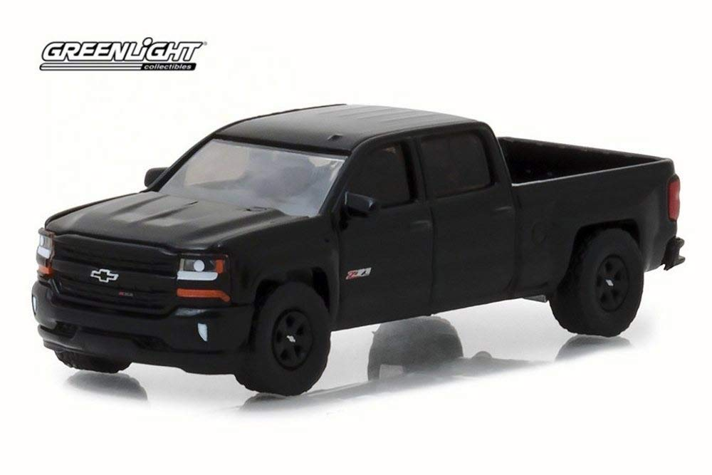 2018 Chevy Silverado 1500 Z71 Crew Cab Pickup Truck, Black - Greenlight 29941/48 - 1/64 Scale Diecast Model Toy Car