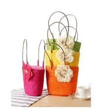Hot sales Color Leisure Wholesale Fashion China Supplier Tote Straw Summer Beach Bag with Flower Decorated