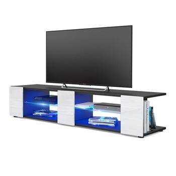 TV Unit Stand Movie V2, Carcass in Black matt / Front in Cream High Gloss with LED lighting in Blue [Energy Class A]
