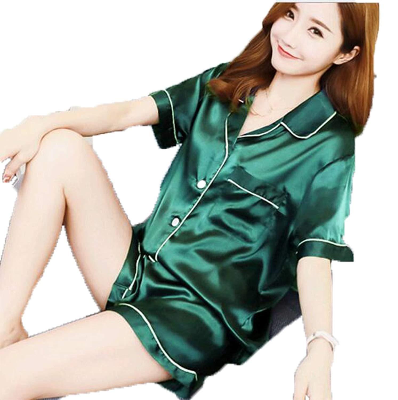 Get Quotations · Marolaya Silk Pajamas Ladies Summer Silk Cardigan Suit  Collar Short-Sleeved Couple Pajamas be846d47c