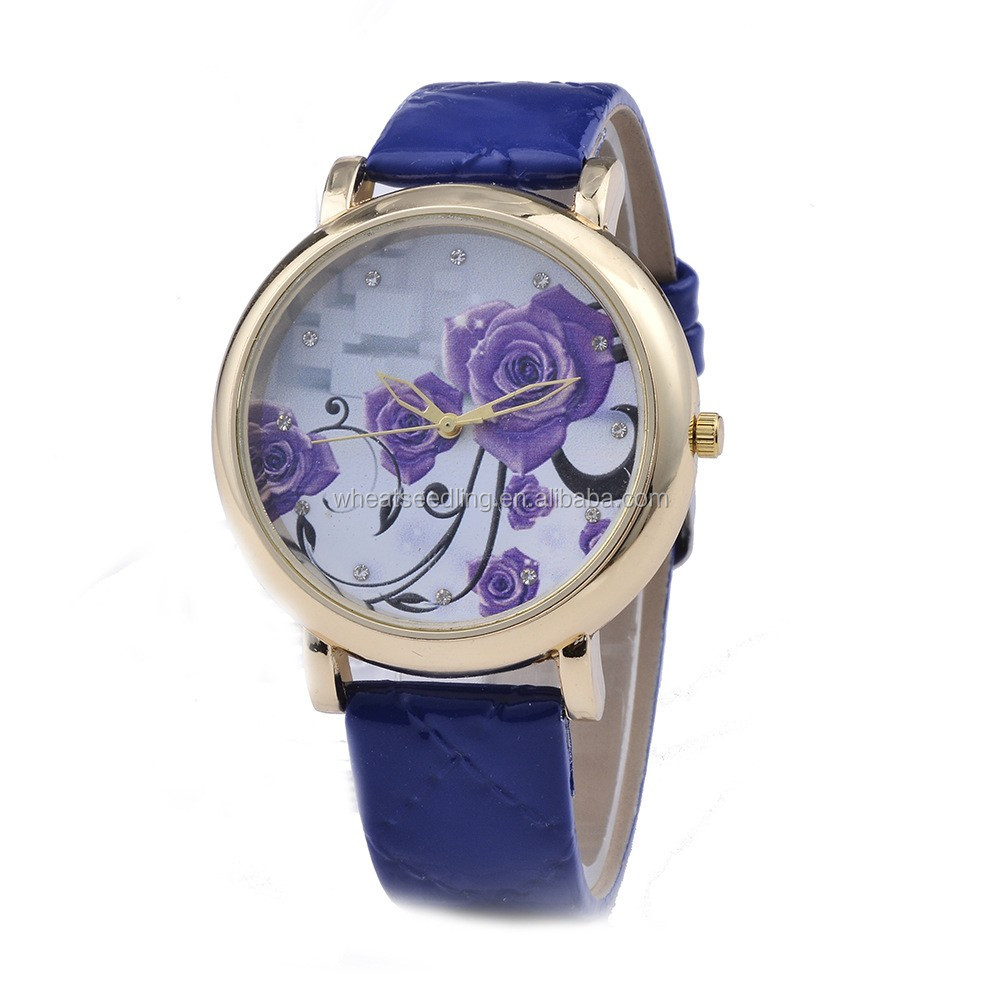 Hot Selling Europe 3D laser Rose Flower Ladies Watches PU leather Wrist Watch