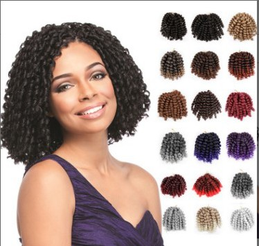 Ali Bliss Wig 8'' 20 Strands Jumpy Wand Curl Jamaican Bounce Synthetic Braiding Hair Extension Crochet Braid For Black Woman