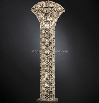 Italien Stil Säulenform Schmiedeeisen Glas Kristall Stehlampe Für  Hochzeitsdekoration