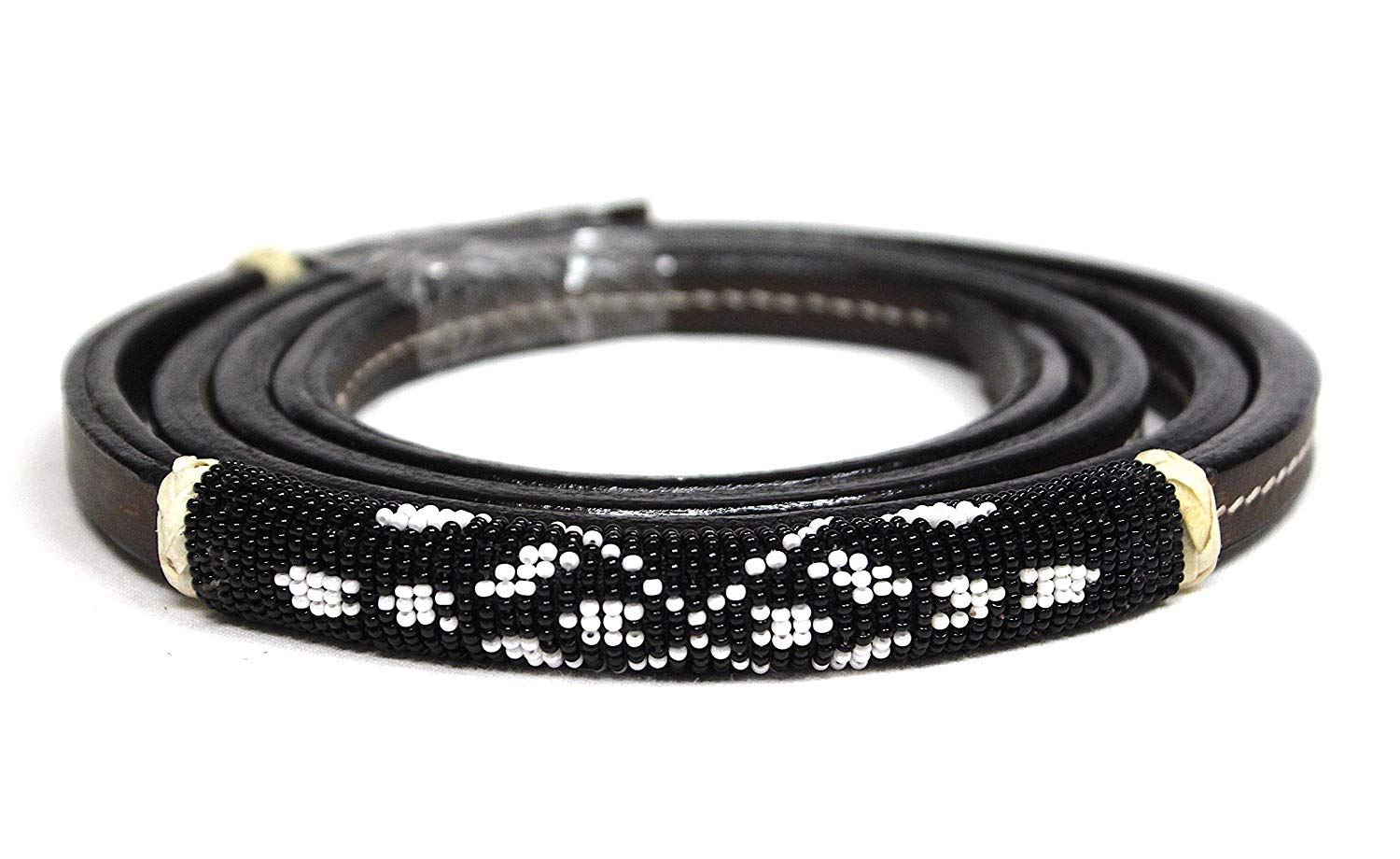 M-Royal Black Beaded Leather Over Under Whip Navajo