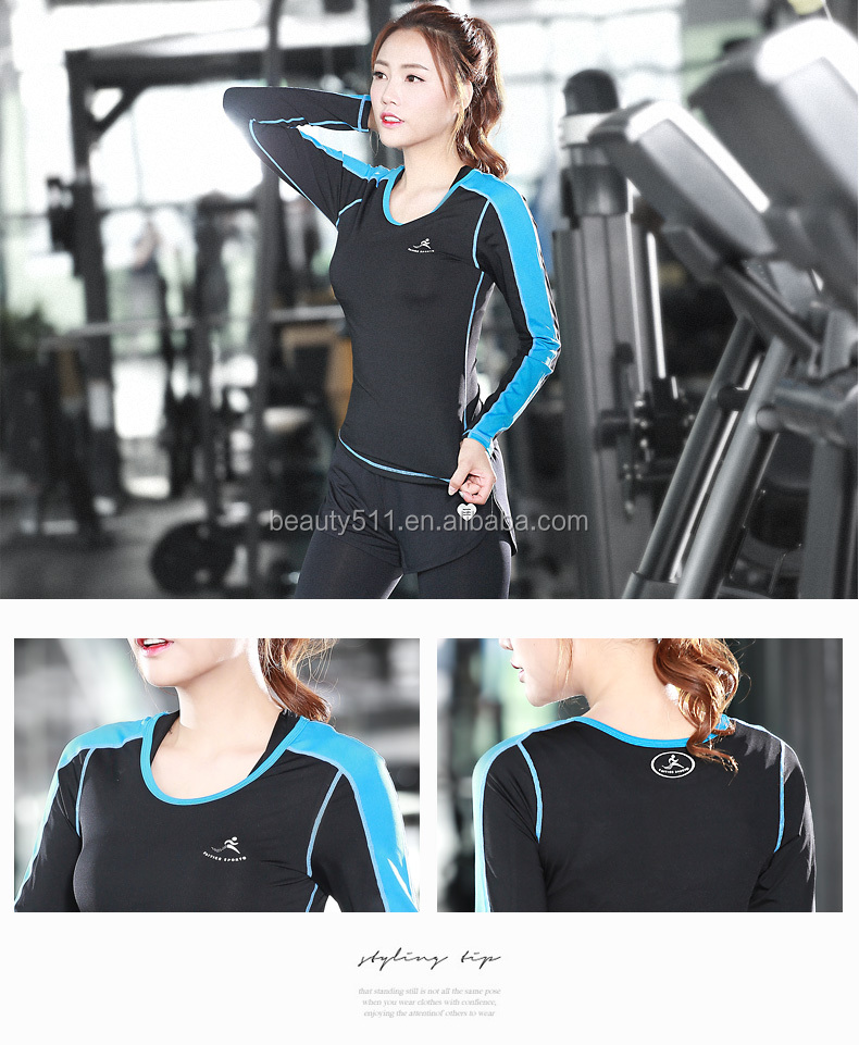 hot sale luminous breathable slim fit jogging shirts for woman