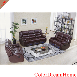 3pcs full set 6 person using cheers leather sofa recliner