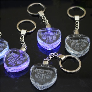 Delicate heart shape crystal keychain with LED lights decoration