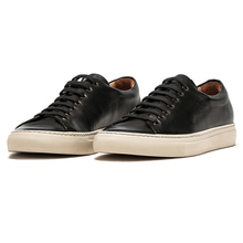 Private Label Fashion Designer Black Genuine Leather Men Casual Sneaker Shoes