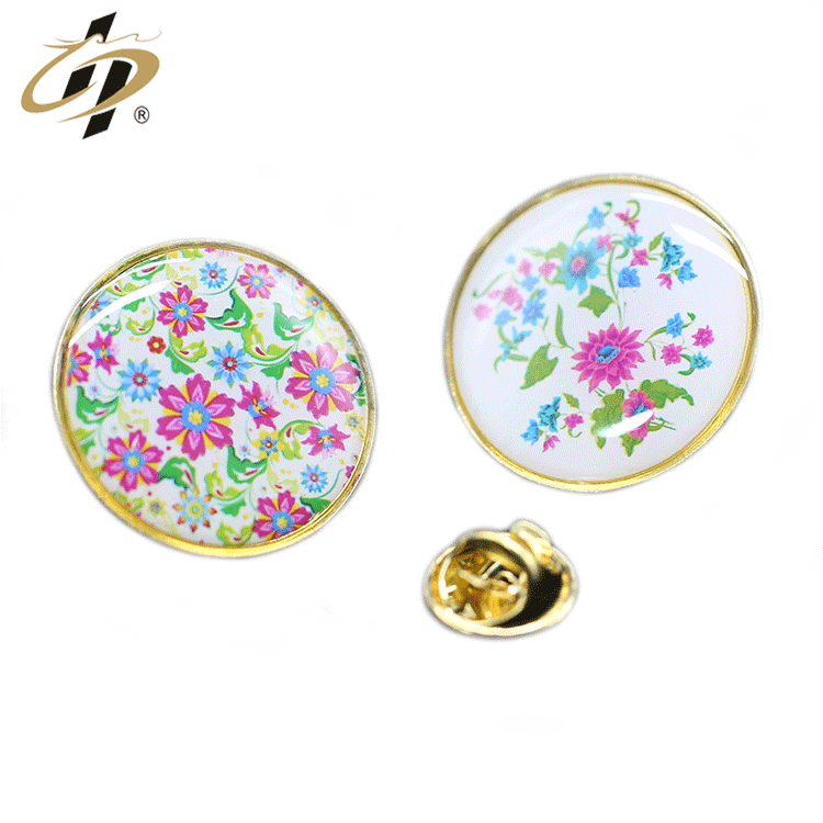 Free sample custom zinc alloy gold plated  Epoxy resin lapel pin badge