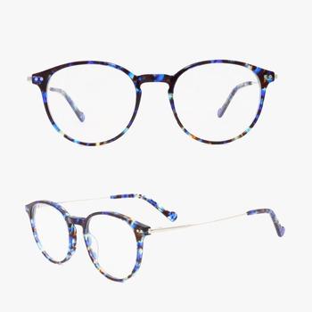 ae47062b5db latest glasses frames for girl wholesale optical frames women glasses  acetate round frames metal temple combo
