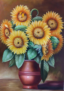Wholesale Price Buying Directly Low Price High Quality Handpaint Canvas Sunflower Oil Painting for Study Room Decoration