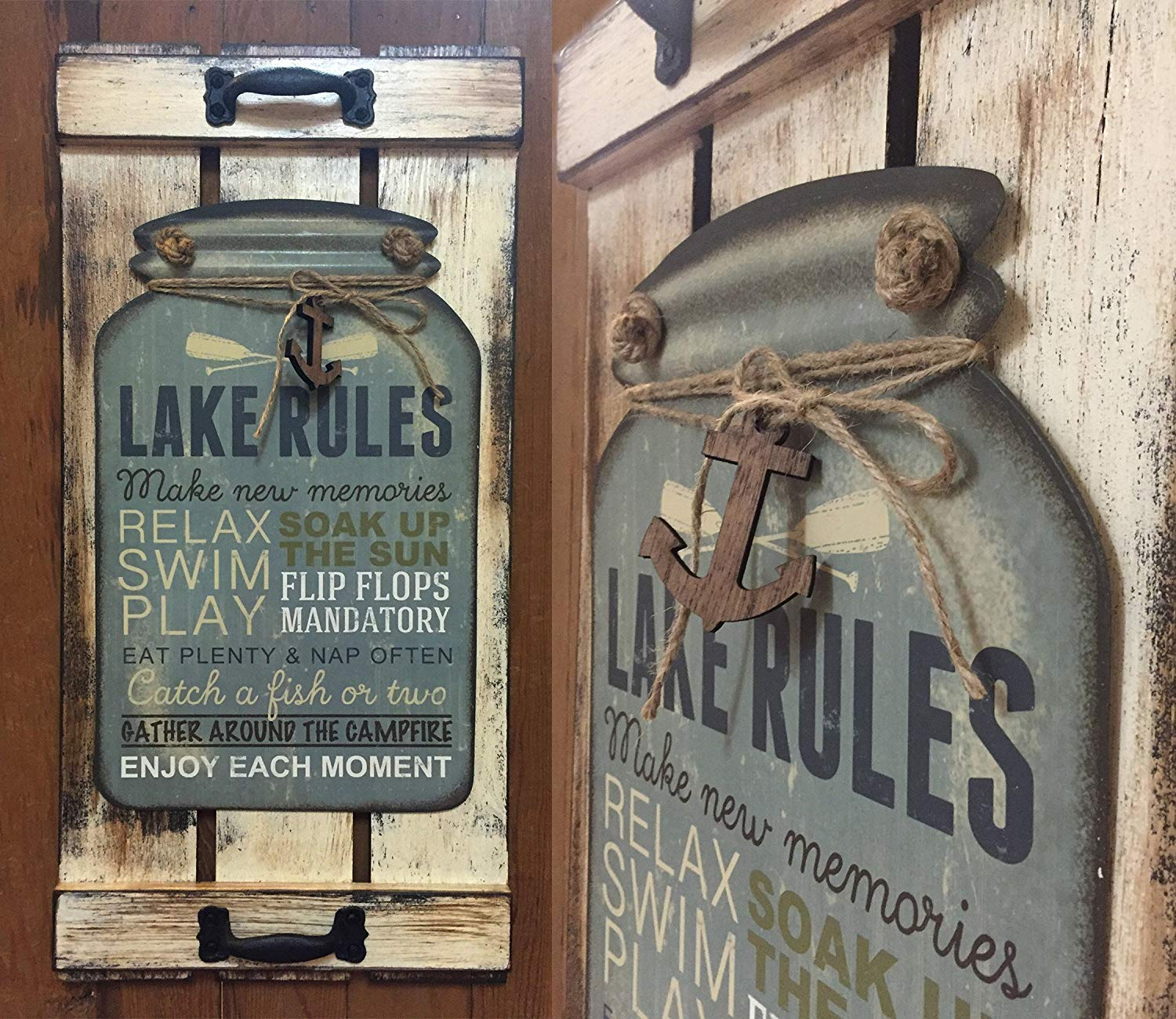 "Mason Canning Jar Shutter LAKE RULES SIGN Distressed Wood Rustic Cabin Kitchen Decor *Vertical 24"" X 11"" *Country Blue, Antique Cream White *Home *Family *MORE SAYINGS AVAILABLE!"