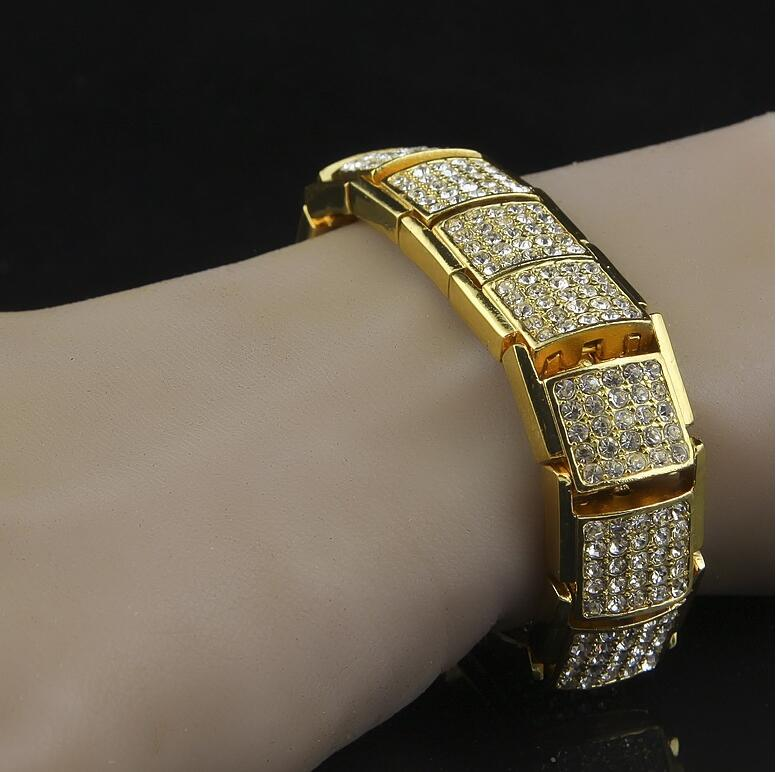 Hip Hop Tanishq Gold Fake Diamond Jewelry Bracelets Designs For Men