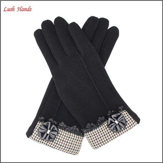 2016 Fashion ladies premium fingered spandex velvet gloves
