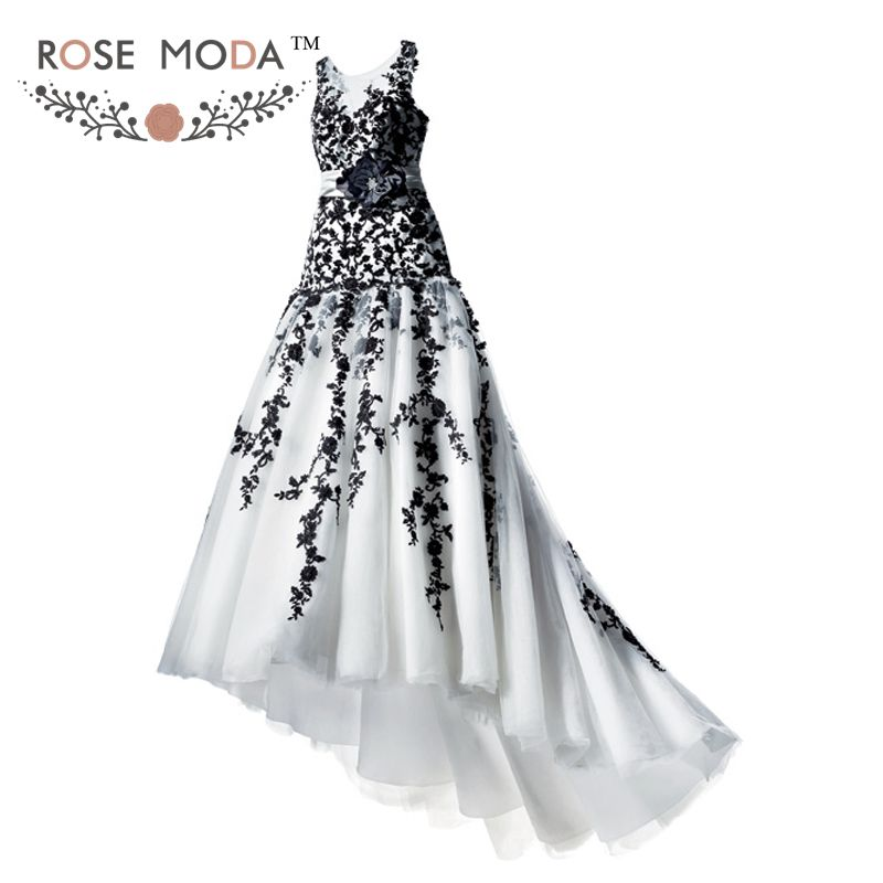 Discount Black And White Gothic Wedding Dresses Real: Gothic White And Black Lace Trumpet Wedding Dress Bateau
