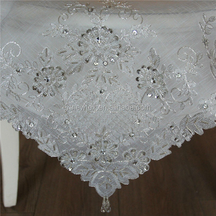 Table cloth with bead embroidery patterns