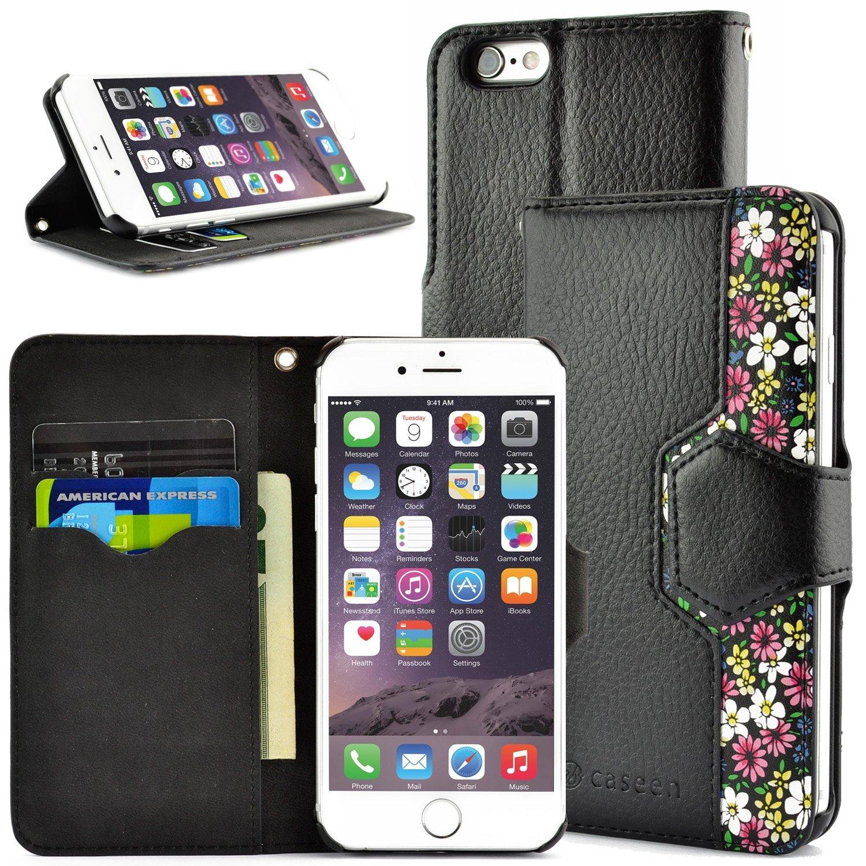 caseen Detachable iPhone 6 / 6S Wallet Case (Black/Pink Floral) - WISP Series