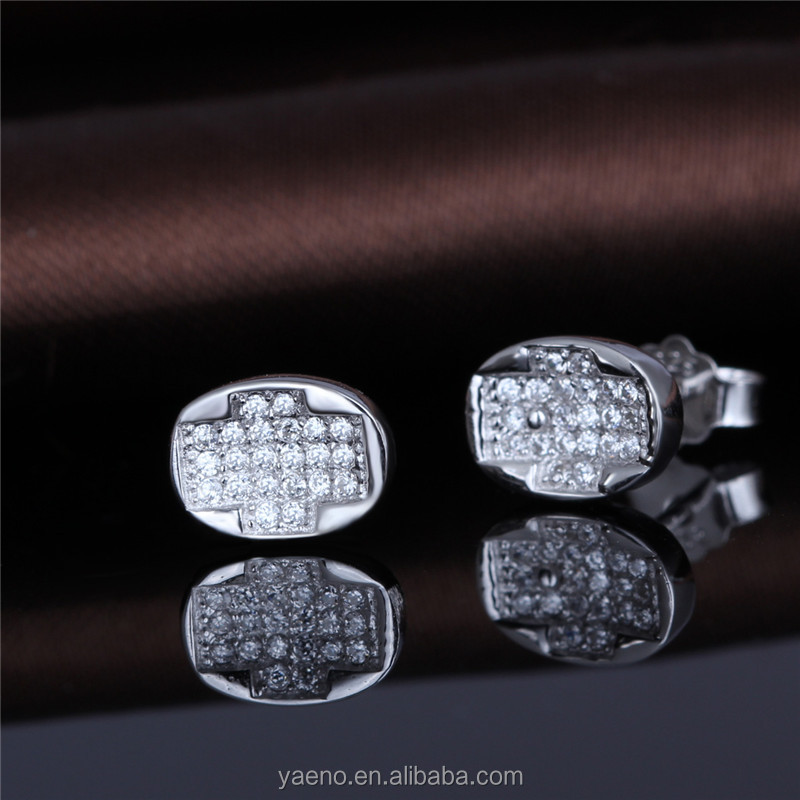 Unique Silver Earring Jewelry,Rhodium Plated Zirconia Stud Earring Cross
