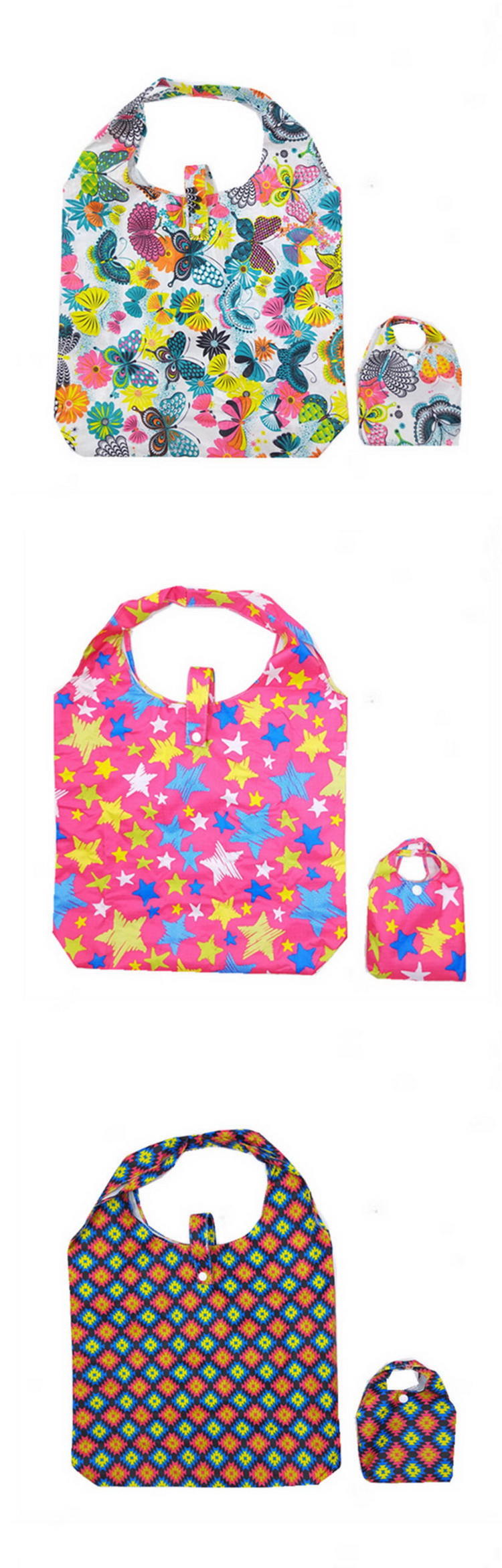 Portable recycled polyester nylon reusable foldable shopping bag